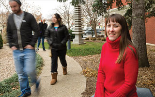 Assistant professor Amber Watts at right, walkability study